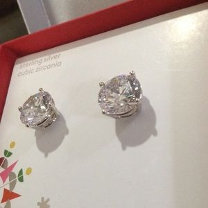Round CZStud Earrings 8.0CTW Clear/Sterling Silver